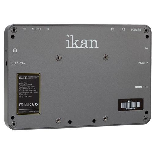 Ikan VL7e 7'' HDMI Field Monitor with Canon E6 Battery Plate (Black) by Ikan