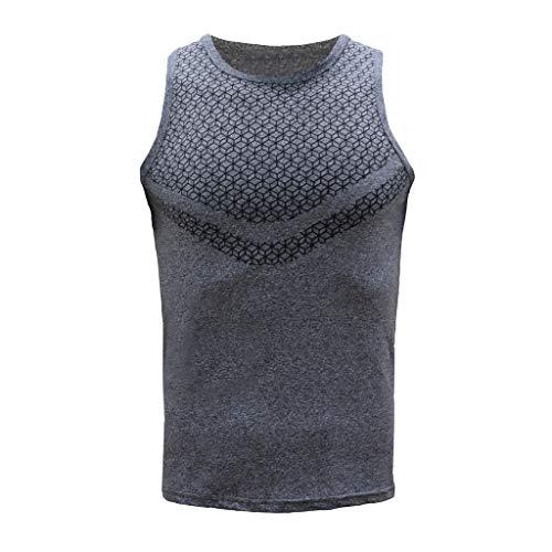 (iHPH7 Mens Gym Tank Tops Muscle Cut Bodybuilding Workout Sleeveless Gym Shirts Men Round Neck Fit Slim Patchwork Sport Sleeveless Shirts Tee Vest Tank XXL Gray)