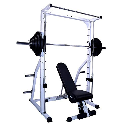 Deltech Fitness DF4900 Linear Bearing Smith Machine with FID Bench and 245 lb Olympic Weight Set
