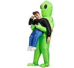 Reuvv Verde Alien de Transporte Humano Disfraz Inflable Divertido ...