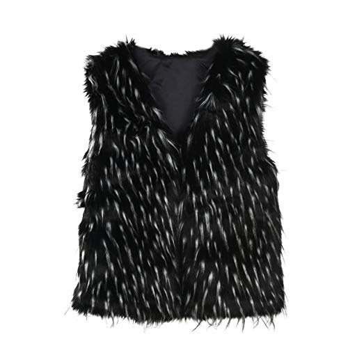 Clearance Sale! ANJUNIE Faux Fur Vest, Womens Hooded Soft Sleeveless Gilet Gradient Waistcoat Jacket(Black,S)