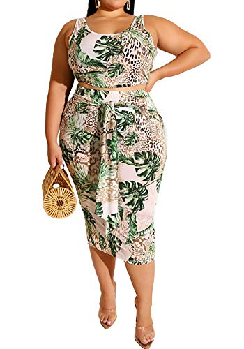 Plus Size Two Piece Sets Sleeveless Tie Dye Tank Crop Top Bodycon Midi Pencil Skirt Sets 2 Piece Club Outfits Summer Party Casual Beach Green 3XL (Matching Crop Top And Pencil Skirt Set)
