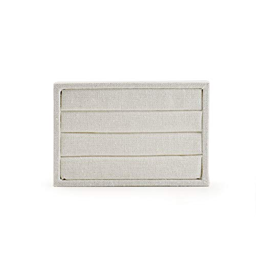 Oirlv linen 3 Slots Ring Earrings Display Trays Showcase Jewelry Organizer (creamy-white,rectangle ) by Oirlv (Image #5)