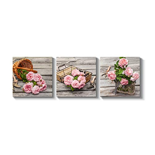(Flower Picture Nature Botanical Artwork - Rose Graphic Art Print on Canvas for Wall)