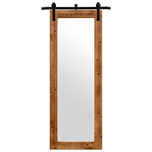 "Stone & Beam Rectangular Vintage-Look Sliding Mirror, 70.5""H, Natural"