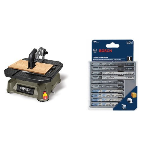 Rockwell RK7323 Blade Runner X2 Portable Tabletop Saw with 10-Piece Assorted T-Shank Jig Saw Blade Set by Rockwell