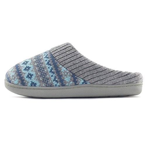 RockDove Womens Sweater Knit Memory Foam House Slippers w/Cute Embroidered Pattern and Ribbed Hand-Knit Collar Teal Blue VBhPF