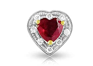 Vera Perla 18K Solid Gold and 0.08Cts Diamonds and 5mm Genuine Ruby Heart Pendant