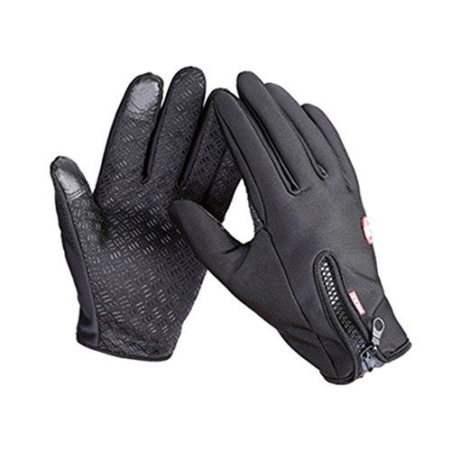 OFT Winterhandschuhe Vollfinger Touch Gloves Warme Winddichte Sport/Fitness Touchscreen Smartphone Handschuh mit Zipper/Reißverschluß (schwarz, M)