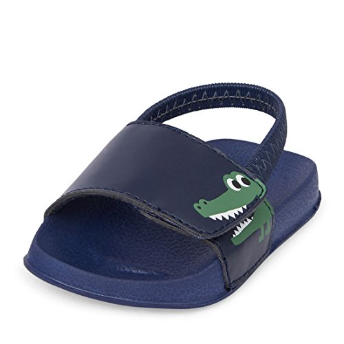 Image of The Children's Place Boys' NBB Dino Slide Sandal, Navy, 6-12MONTHS Months US Infant