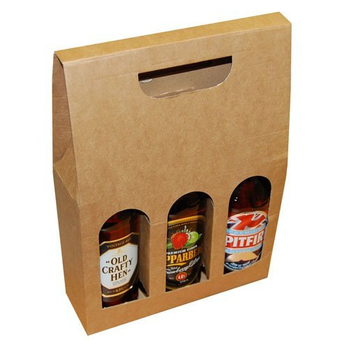 Beer and Ale Bottle Box Carrier Holder Fathers Day Gift Pack 215 x 490 x 70mm Qty 5 Boxes ei-Packaging