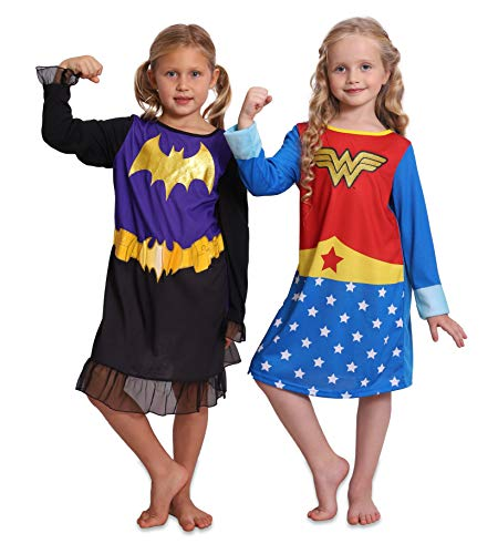 Super Heroes Wonder Woman and Batgirl 2 Girls Nightgowns Set, Heroes, Size 7/8 -