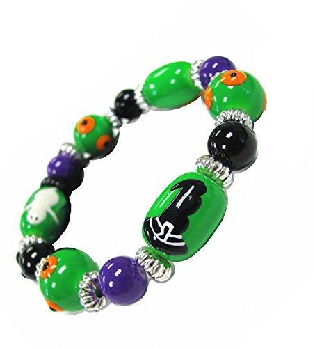 Linpeng Halloween Glass Beads Stretch Bracelets for Men Women Kids/Painted Ghost Witch Hat Pumpkin Beads Size 13x18mm / Green/Bracelet Length Around 7.5
