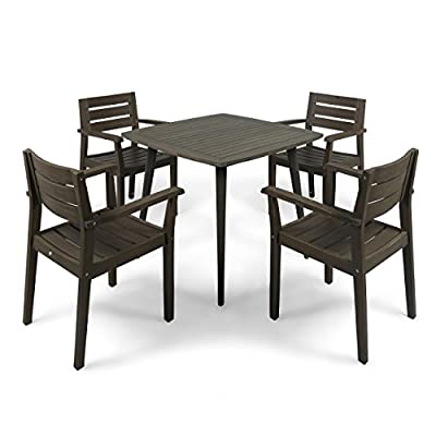 Christopher Knight Home Zack Outdoor 5 Piece Acacia Wood Dining Set wit Straight Legged Dining Table - Few will contest the fact that there is little more invigorating than sharing a meal with loved ones out in the fresh air; this outdoor dining set will give you and three of your closest friends a lovely new place to do just that, both in style and in comfort. Enjoy the warm weather; never spend another summer stuck eating at the kitchen counter. Includes: One (1) Dining Table and Four (4) Dining Chairs. Material: Acacia. Color: Gray Finish. Some Assembly Required. Hand Crafted Details. Table Dimensions: 35.50 inches deep x 35.50 inches wide x 30.00 inches high. - patio-furniture, dining-sets-patio-funiture, patio - 412lEDi3ovL. SS400  -