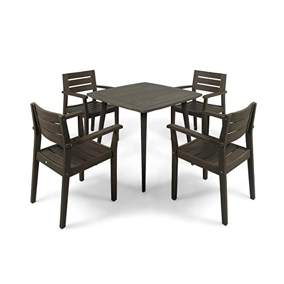 Christopher Knight Home Zack Outdoor 5 Piece Acacia Wood Dining Set wit Straight Legged Dining Table - Few will contest the fact that there is little more invigorating than sharing a meal with loved ones out in the fresh air; this outdoor dining set will give you and three of your closest friends a lovely new place to do just that, both in style and in comfort. Enjoy the warm weather; never spend another summer stuck eating at the kitchen counter. Includes: One (1) Dining Table and Four (4) Dining Chairs. Material: Acacia. Color: Gray Finish. Some Assembly Required. Hand Crafted Details. Table Dimensions: 35.50 inches deep x 35.50 inches wide x 30.00 inches high. - patio-furniture, dining-sets-patio-funiture, patio - 412lEDi3ovL. SS570  -