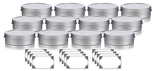 1 oz Metal Steel Tin Flat Container with Tight Sealed Twist Screwtop Cover (12 pack) + Labels