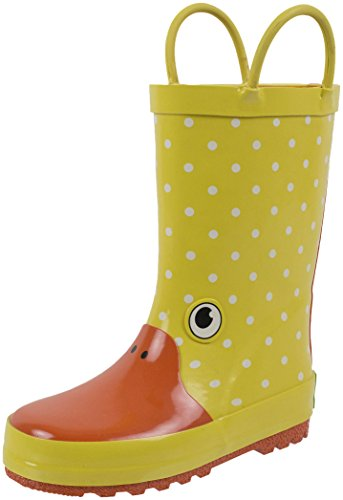Rainbow Daze Kids Rain Boots Gone Quackers Yellow Duck, Waterproof, 100% Rubber, Size 11/12