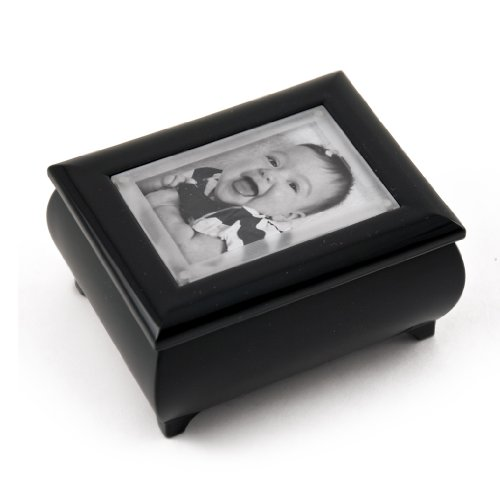 3'' X 2'' Wallet Size Matte Black Photo Frame Music Box With New Pop-Out Lens System - When I Fell in Love - SWISS by MusicBoxAttic
