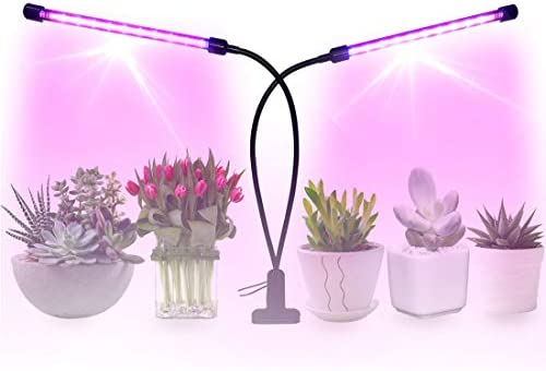 18W LED Grow Light Lamp for Indoor Plants Herbs with Timer Function 360 gooseneck Hydroponics Dual Head Red Blue 4 Brightness Levels Tips to Successfully Growing Plants Indoors Included