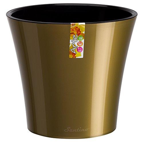 (Santino Self Watering Planter Arte 5.3 Inch Gold/Black Flower Pot)
