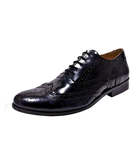 7ad852693c HiREL S Mens Black Patent Leather Brogues  Buy Online at Low Prices in  India - Amazon.in