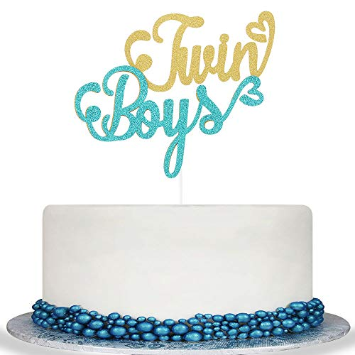 Colorful Twins Boy Cake Topper - Baby Boy Shower,It's A Boy Sign, Gender Reveal Party Decorations]()