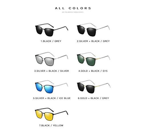 Gafas Estilo Oro UV Clásico Etc El Sol Hombres Pilotos Negro Protege De Polarizados De Black gray Los 400 P0SwqP6Cr