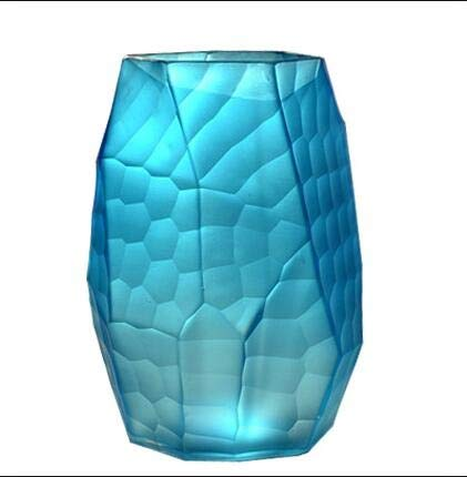 着色ガラス花瓶手彫り工芸品装飾品ホーム花瓶装飾 JSFQ (色 : 青, サイズ さいず : 8cm×21.5cm) B07RWB8GLY 青 8cm×21.5cm