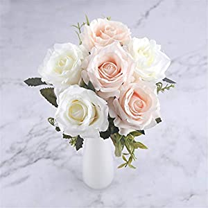 Rvbyjfg White Rose Artificial Dried Flower Wedding Decoration Red Decoration 49