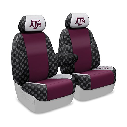 Coverking Front 50/50 Bucket NCAA Licensed Custom Fit Seat Cover for Select Lincoln Town Car Models - Neosupreme (Texas A&M University) ()