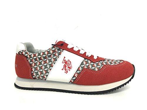 U.S.POLO ASSN. US Polo Association - Zapatillas de Piel Para Mujer Rojo Rojo