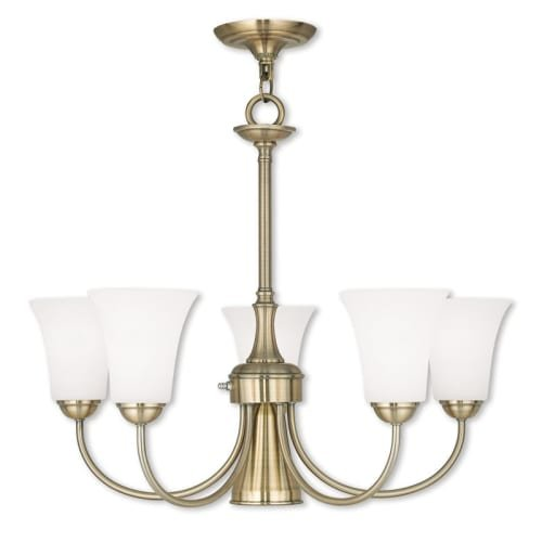 Livex Lighting 6465-01 Ridgedale - Six Light Dinette Chandelier, Antique Brass Finish with Satin Opal White Glass (Lighting Nook Breakfast)