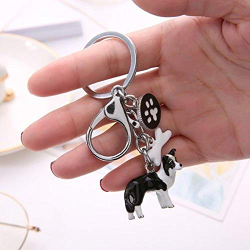 (S7 3D Pet Dog Keychains Hand-Painted Craft Cute Dogs Key Ring Border Collie Shelti Husky Metal Car Keychain Jewelry Woman Bag Key)