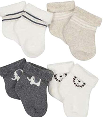 Booties Gerber - Gerber Baby Boy Size 0-6 Months Wiggle Proof Stay On, Organic Cotton Ankle Bootie Sock, 4-Pack