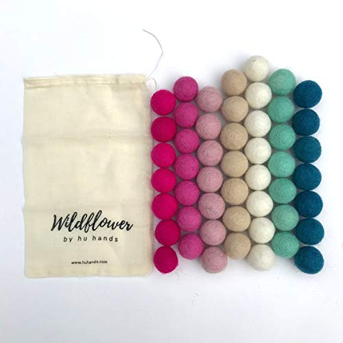 100% Handmade Wool Felt Pom Poms - Cotton Candy - (50) Pure New Zealand Wool Felt Balls - DIY Pompoms - Assorted Pastel Colors - 0.8-1.0