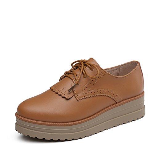 Zapatos de mujer casual de primavera/Zapatos de plataforma estilo de escuela británica mujeres/Zapato del plano/Zapatos de plataforma de cuero A