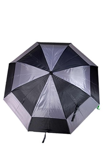 Totes 29-Ounce Stormbeater Vented Auto Open Golf Umbrella 60-inch Canopy Black and Grey 2-pack
