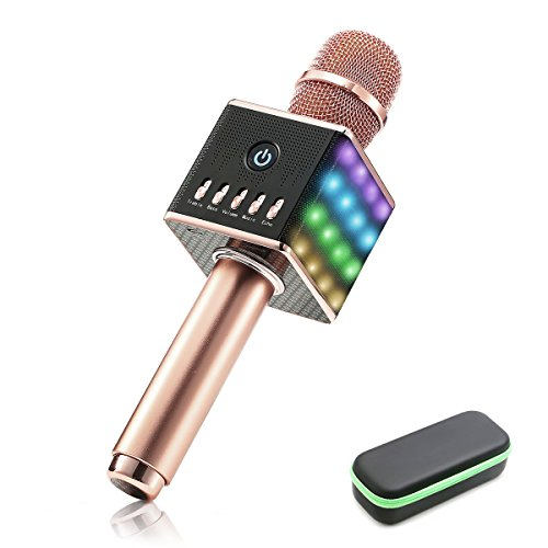 LED Wireless Karaoke Microphone - NASUM H8 Mic Built in Bluetooth Speaker and Mini Handheld Cellphone Karaoke Player,2600mAh battery,Karaoke MIC Machine for KTV with Carry Case(100% Protection),Rose