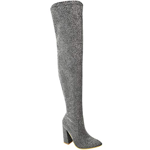 Fashion Thirsty Womens Thigh High Boots Stretch Over The Knee Block High Heels Size 9