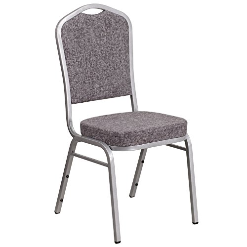 [Flash Furniture FD-C01-S-12-GG HERCULES Series Crown Back Stacking Banquet Chair with Herringbone Fabric and 2.5'' Thick Seat Silver Frame] (Silver Frame Black Fabric Seat)