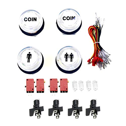 Toeduk 5V LED Illuminated Push Button for MAME Jamma Fighting Games Arcade Video Games 1P / 2P Player Start Buttons / 2X Coin Buttons