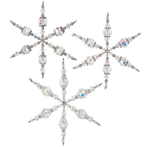 Solid Oak Kit Beaded Ornament Vintage Snowflakes ORN