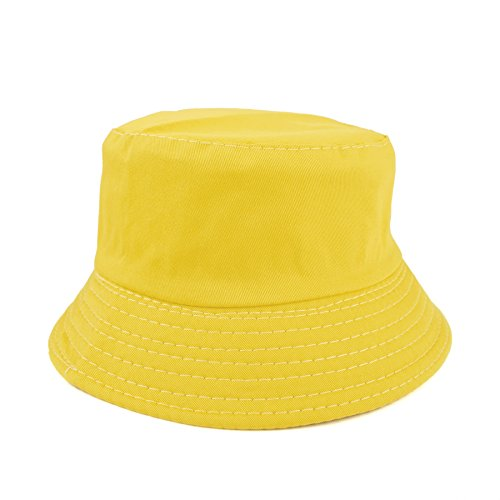 Opromo Kids Cotton Twill Bucket Hat, Summer Outdoor Sun Hat, Sun Protective Hat-Yellow-48 Pcs by Opromo