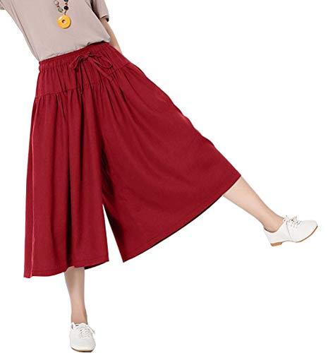 Soojun Women's Loose Fit Wide Leg Cotton Linen Cropped Palazzo Pants, 1 WineRed, Medium