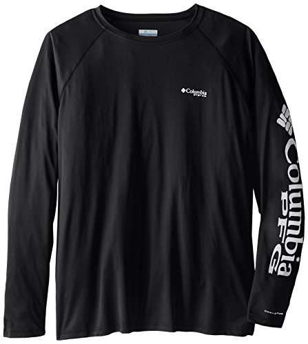 Columbia Men's Terminal Tackle Long Sleeve Shirt, Black/Cool Grey Logo, ()