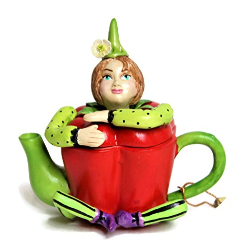 4' Garden Bell - Miniature Fairy Garden Ceramic Porcelain Statue Decoration -Fairy Boy/Pixie in Vegetable Teapot Shape- Approx Size 3''-4'' Tall. Also Perfect As Trinket Box or Tooth Fairy Box. (Red Bell Pepper)