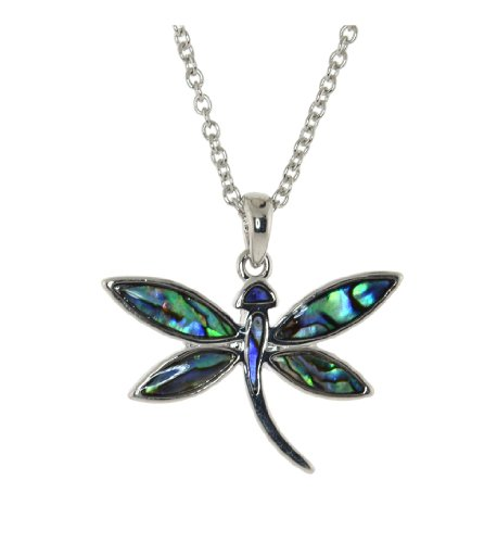 Mevoi Abalone shell pendant -Dragonfly with Free Chain