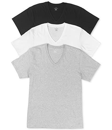 Calvin Klein Men's 3-Pc Grey/White/Black Cotton V-Neck Basic T-Shirt Sz: L