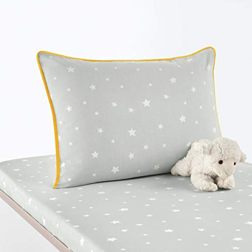 La Redoute Interieurs Etoiles Star Print Infant Cotton Pillowcase Grey Size 40 X 60 -