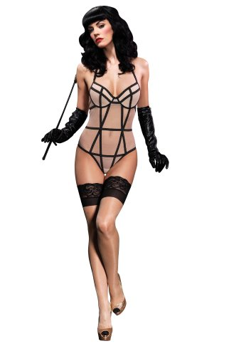 Leg Avenue Women's Padded Underwire Mesh Teddy with Contrast Strappy Detail